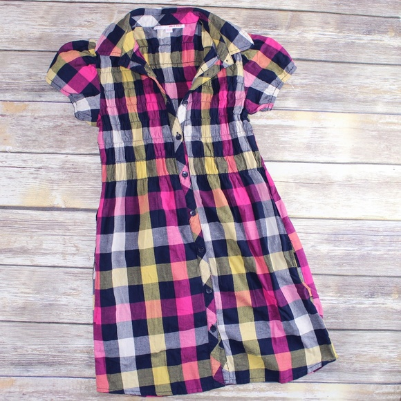 Tally Weijl Dresses & Skirts - Tally Weijl Navy, Pink & Yellow Flannel Mini Dress